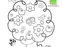 نقاشی درخت بهاری (رنگ آمیزی)