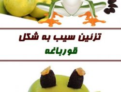 روش تزئین سیب به شکل قورباغه